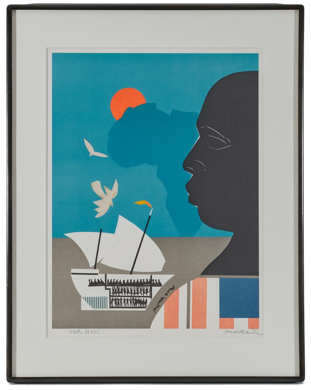 ROMARE HOWARD BEARDEN, (American, 1911-1988), Roots, lithograph with hand collage, image: 23 3/4 x 18 in., frame: 32 3/4 x 26 in.