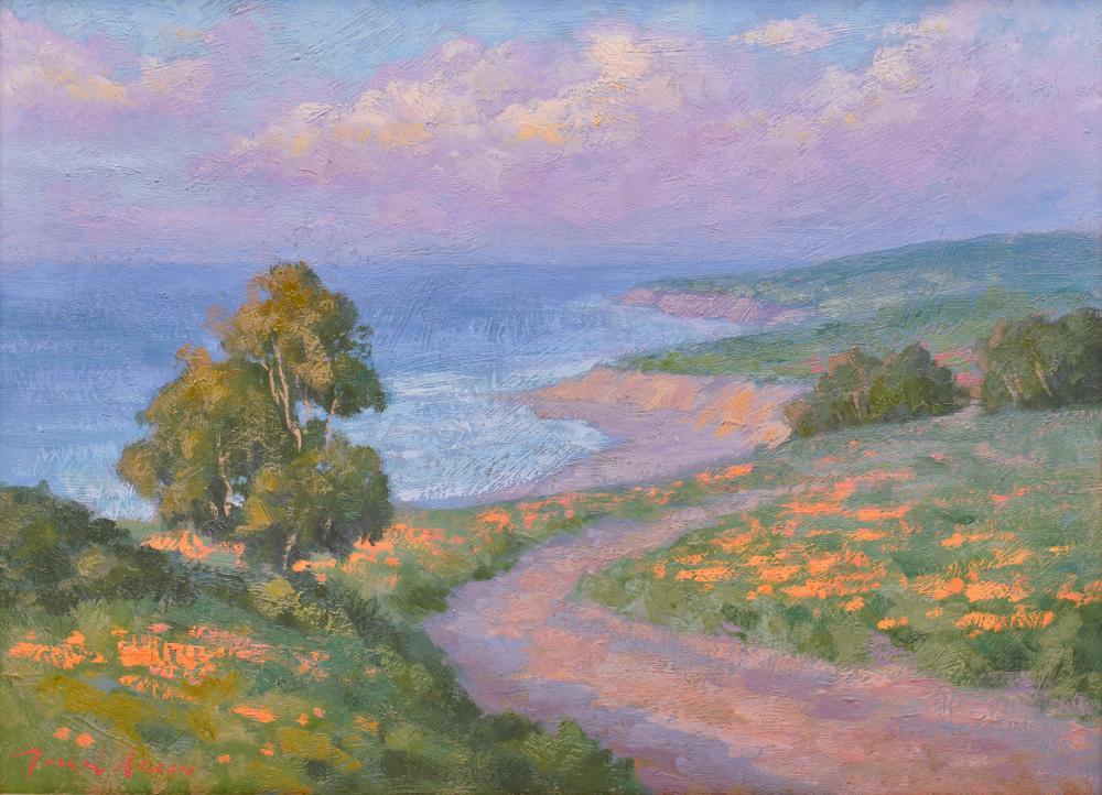 JOSEPH AARON, (American, b. 1959), California Coastal View, oil on canvas, 18 x 24 in., frame: 24 1/2 x 30 1/2 in.