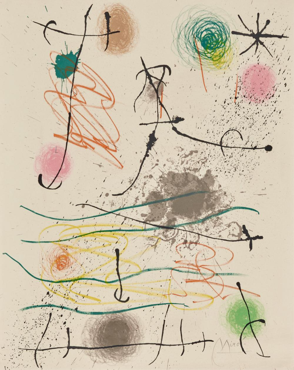 JOAN MIRO, (Spanish, 1893-1983), Quelques fleurs pour des amis (Frontispiece), 1964, lithograph in colors, sheet: 16 x 25 in. (unfolded), frame: 18 1/2 x 15 1/2 in.