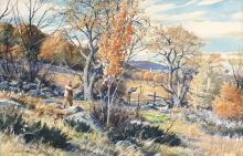 AIDEN LASSELL RIPLEY, (American, 1896-1969), Grouse Near the Apples, watercolor, 20 x 30 1/2 in., frame: 28 x 38 in.