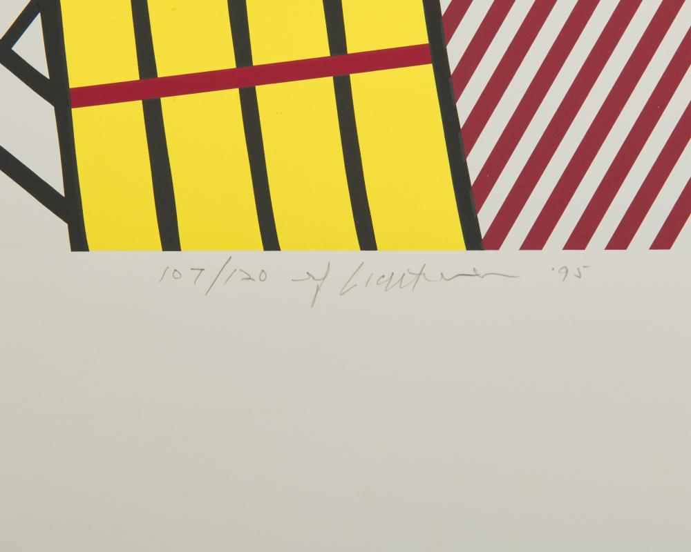 ROY LICHTENSTEIN, (American, 1923-1997), Composition IV, 1995, screenprint in colors on Rives paper, sheet: 22 1/4 x 27 1/4 in.