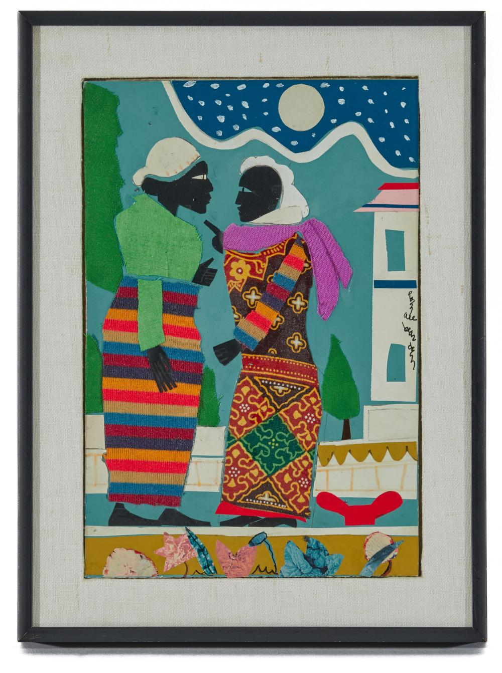 ROMARE HOWARD BEARDEN, (American, 1911-1988), In the Garden, 1978, acrylic, cloth, and paper collage on paper affixed to board, sight: 10 1/4 x 6 7/8 in., frame: 13 x 9 3/4 in.
