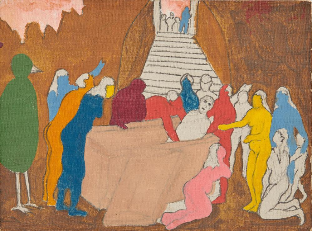 ROBERT LOUIS THOMPSON, (American, 1937-1966), The Raising of Lazarus, 1965, oil on canvas, 9 x 12 in.
