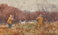 AIDEN LASSELL RIPLEY, (American, 1896-1969), Double Shot, 1937, double-sided watercolor, sheet: 15 3/4 x 24 1/2 in., frame: 23 x 32 in.