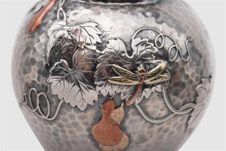 TIFFANY & CO. Hammered Silver and Mixed-Metal Japanesque Tea Caddy, New York, ca. 1880