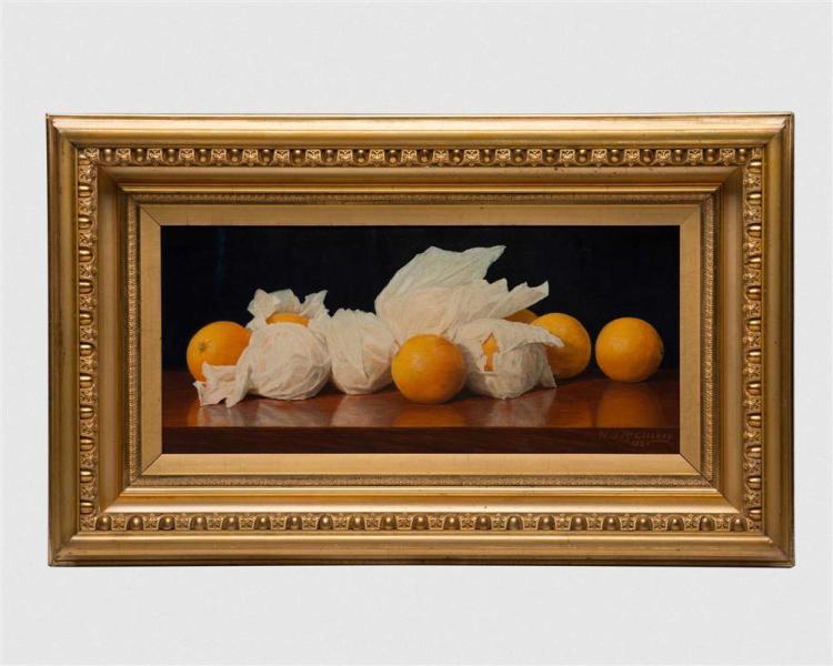 WILLIAM JOSEPH McCLOSKEY, (American, 1859-1941), Valencia Oranges, 1889, oil on canvas, 11 x 24 in., frame: 20 x 33 in.