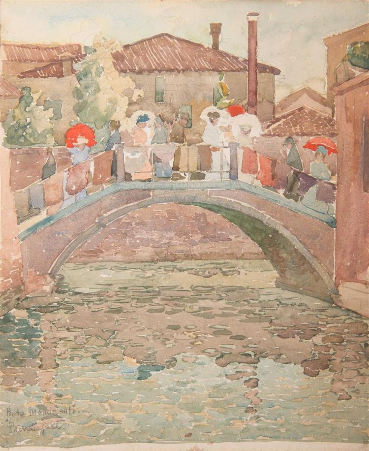 MAURICE BRAZIL PRENDERGAST, (American, 1858-1924), PONTE MENDICANTI, watercolor, 12 1/8 x 9 15/16 in.