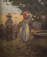 LESLIE WILLIAM LEE, (American, 1871-1951), AT THE FOUNTAIN, oil on canvas;, 30 1/4 x 25 1/4 in. (36 x 31 in.)