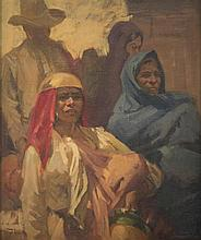 LESLIE WILLIAM LEE, (American, 1871-1951), FOUR FIGURES, oil on canvas;, 30 x 25 1/4 in. (36 x 31 in.)