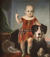 FREDERICK E. COHEN, (American, 1818-1858), PORTRAIT OF A CHILD WITH A DOG, oil on canvas;, 30 1/4 x 26 1/2 in. (33 3/4 x 30 1/4 in.)