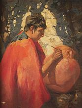 LESLIE WILLIAM LEE, (American, 1871-1951), AZTEC POTTER, oil on canvas;, 40 x 30 in. (45 x 35 1/2 in.)