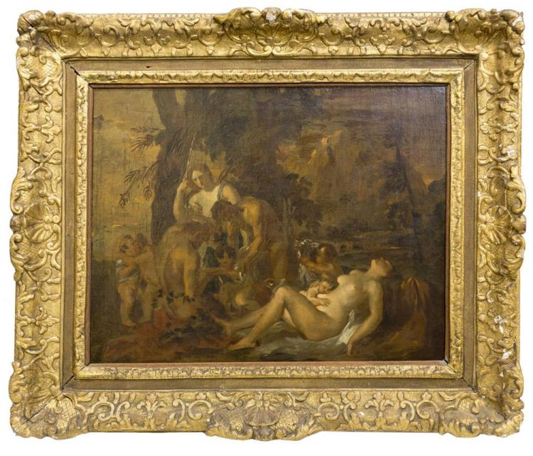 AFTER NICOLAS POUSSIN, (French, 1594-1665), A LITTLE BACCHANAL, oil on canvas, 17 1/2 x 20 3/4 in. (24 x 29 in.)