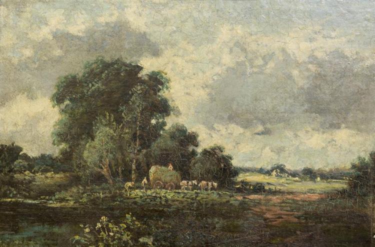 CHARLES FRANCOIS DAUBIGNY, (French, 1817-1878), BARBIZON LANDSCAPE, oil on panel, 10 1/8 x 15 1/4 in. (18 x 23 in.)