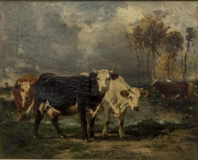 EMILE VAN MARCKE, (French, 1827-1890), COWS, oil on canvas, 15 1/2 x 19 in. (21 x 24 1/2 in.)