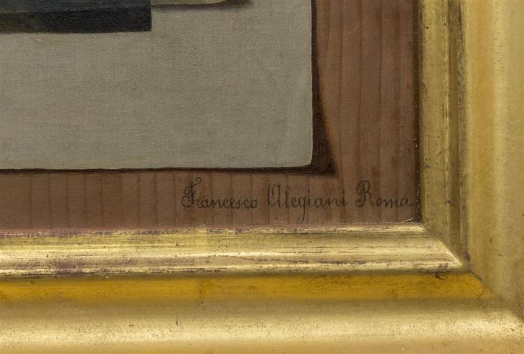 FRANCESCO ALEGIANI, (Italian, 19th century), TROMPE L'OEIL, oil on canvas, 20 x 14 in. (24 1/2 x 18 1/2 in.)