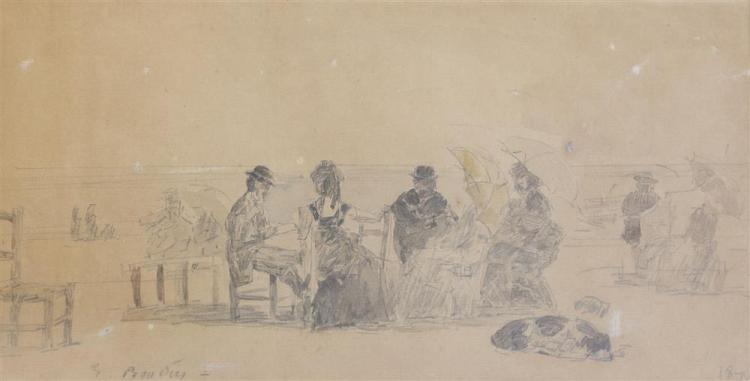 EUGENE BOUDIN, (French, 1824-1898), SUR LA PLAGE, 1876, pencil and wash on paper, sight: 5 3/4 x 11 in. (12 x 17 in.)