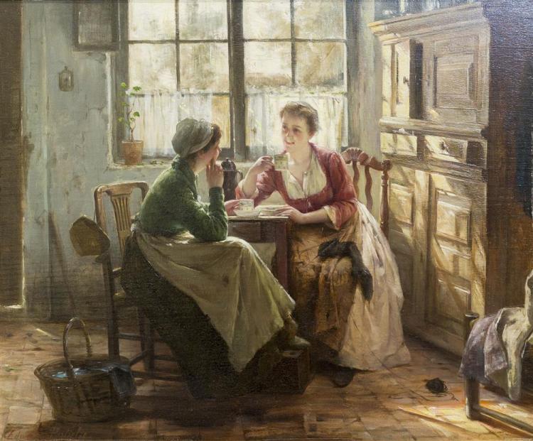 EDWARD ANTOON PORTIELJE, (Belgian, 1861-1949), TEATIME, oil on board, 17 x 20 in. (2 1x 23 1/2 in.)