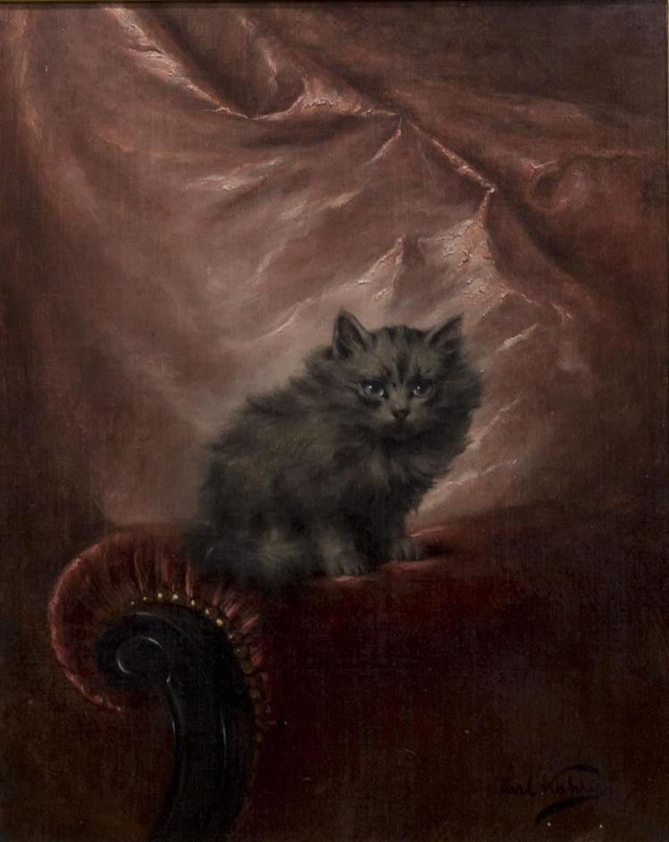 CARL KAHLER, (Austrian, 1855-1906), KITTEN ON A SOFA, oil on canvas, 20 x 16 in. (30 x 26 in.)