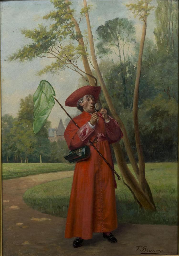 FRANCOIS BRUNERY, (Italian, 1849-1926), INSECT CATCHING, oil on panel, 22 1/2 x 15 in. (27 x 20 1/4 in.)