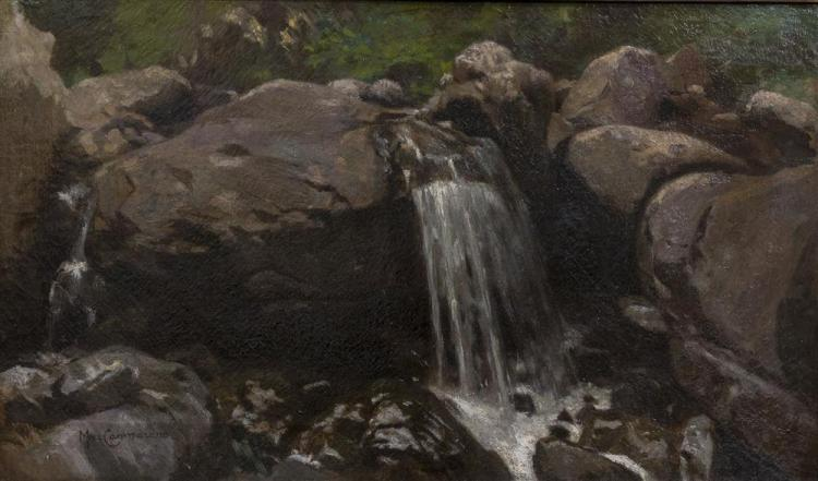 MICHELE CAMMARANO, (Italian, 1835-ca.1920), FALLS ON A ROCKY STREAM, oil on canvas, 18 x 30 in. (27 x 39 1/2 in.)