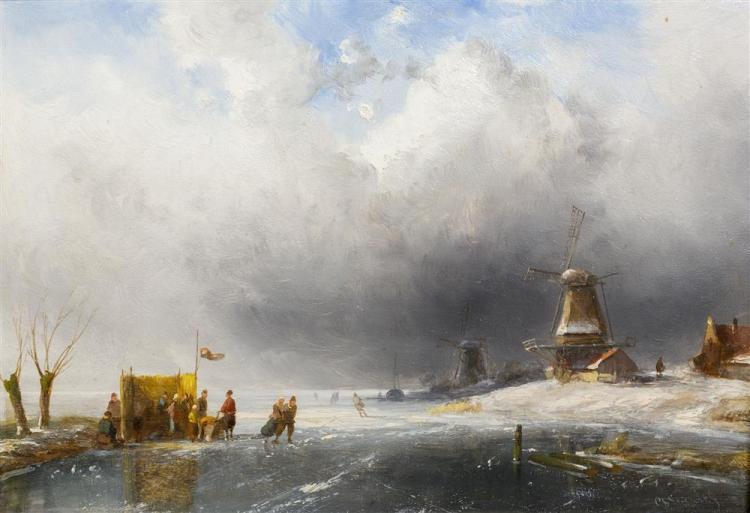 CHARLES LEICKERT, (Dutch, 1816-1907), WINTER SCENE, oil on board, 8 1/4 x 11 3/4 in. (13 1/2 x 17 in.)