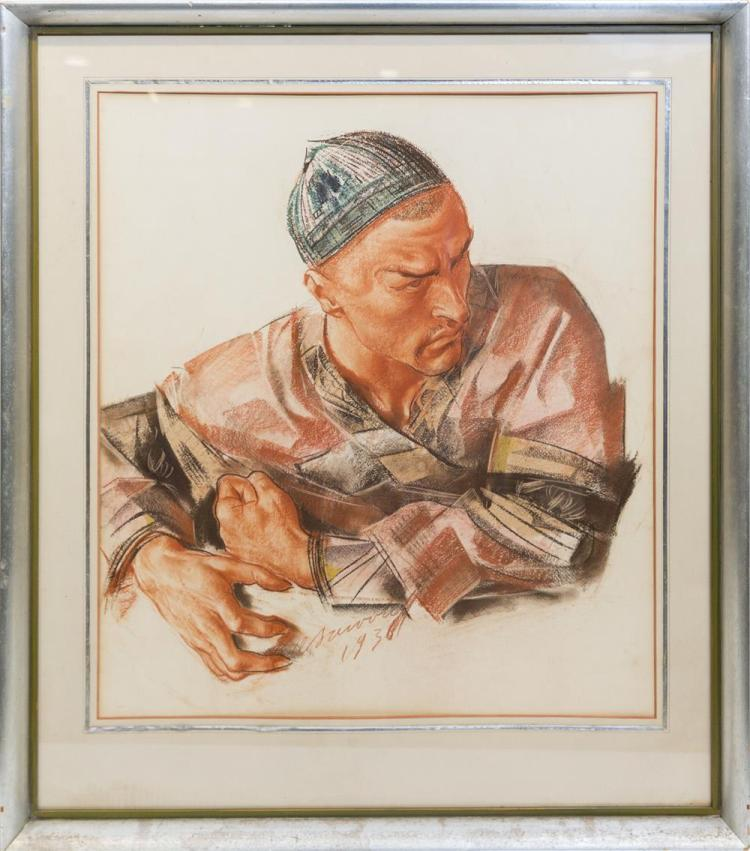 ALEXANDRE EVGENEVICH IACOVLEFF, (Russian, 1887-1938), PORTRAIT OF I. SHABELESKY (RUSSIAN BALLET), 1936, crayon and sanguine on paper, sight: 24 1/2 x 21 3/4 in. (33 x 29 in.)