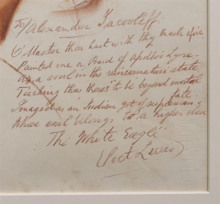 ALEXANDRE EVGENEVICH IACOVLEFF, (Russian, 1887-1938), AN IRISH POET, sanguine on paper, sight: 22 1/4 x 18 in.; sheet: 22 3/4 x 18 1...