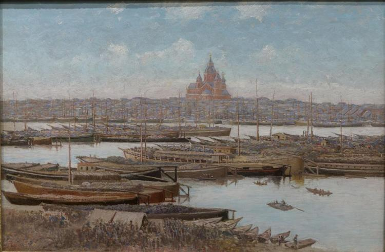 GEORGE ALBERT FROST, (American, 1843-1907), VIEW OF ALEXANDER NEVSKY CATHEDRAL, NIZHNY NOVGOROD, oil on canvas, 20 x 30 in. (28 x 38 in.)