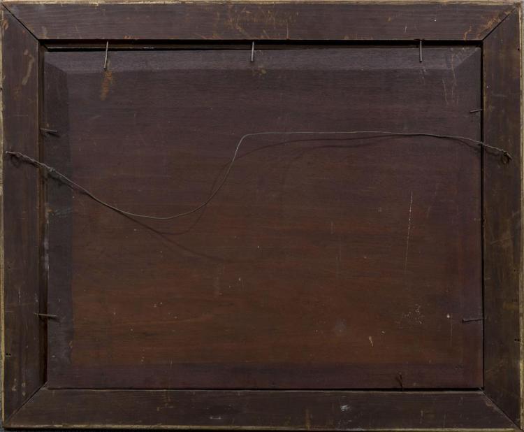 AFTER EMMANUEL GOTTLIEB LEUTZE, (American, 1816 - 1868), WASHINGTON CROSSING THE DELAWARE, oil on panel, 23 1/4 x 30 in. (30 x 36 1/...