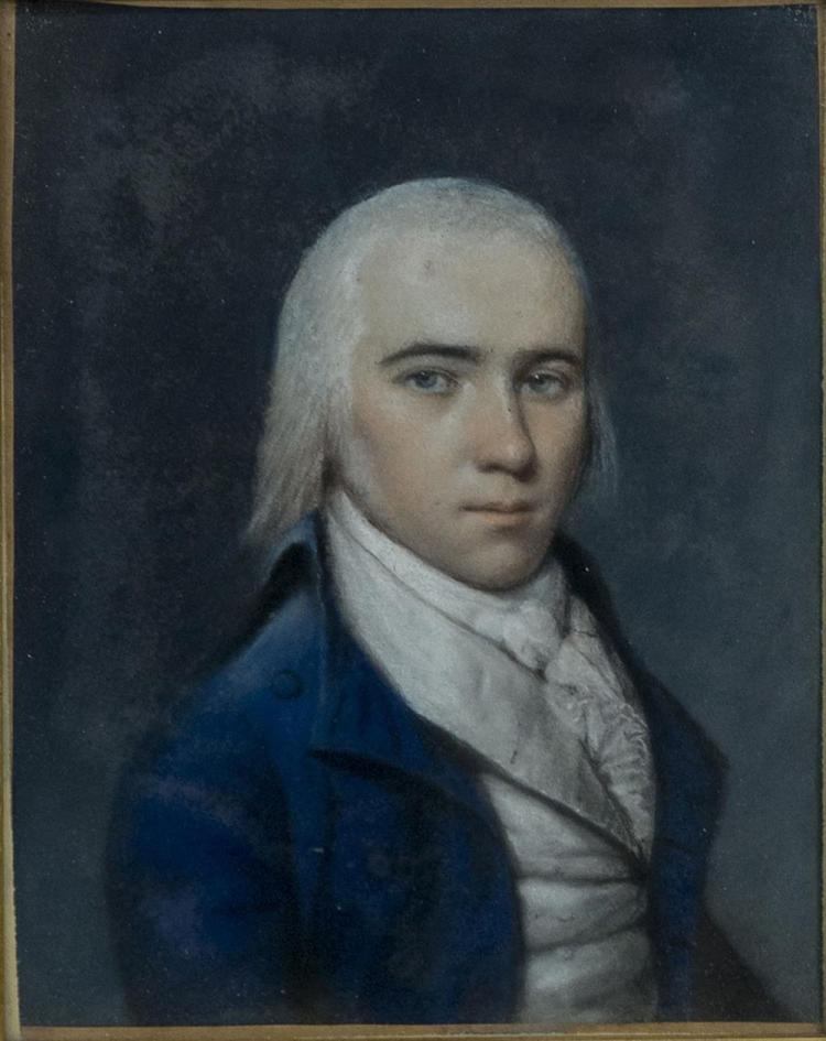JAMES SR SHARPLES, (American, 1751/2-1811), PORTRAIT OF JAMES MADISON AS A YOUNG MAN, pastel on paper, 8 3/4 x 7 in. (17 1/4 x 15 1/4 in.)