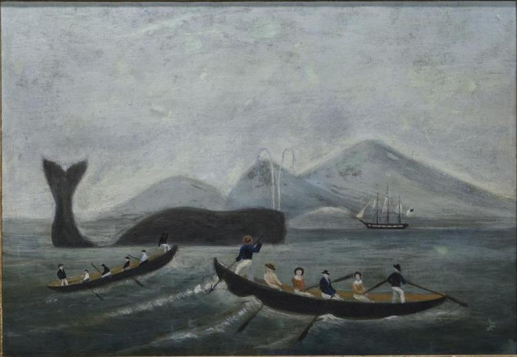 "NAIVE SCHOOL , (19th century), THE WHALE FISHERY ""LAYING ON"", oil on canvas, 20 1/2 x 29 in. (23 1/4 x 32 in.)"