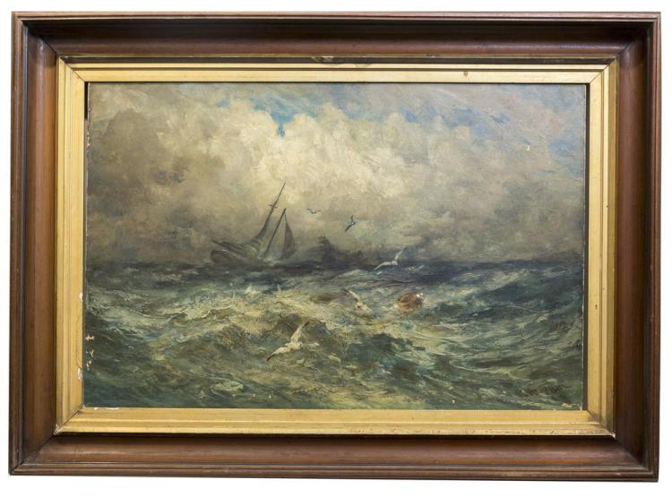 ROBERT B. HOPKIN, (American, 1832-1909), SQUALLY, oil on canvas, 24 x 36 in. (34 x 47 in.)