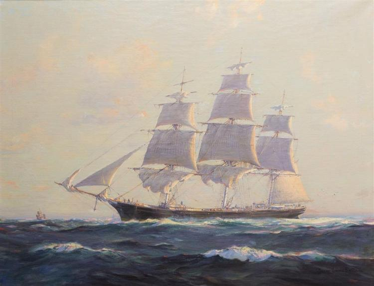 """FRANK VINING SMITH, (American, 1879-1967), THE CLIPPER SHIP """"SURPRISE"""", oil on canvas, 28 x 36 in. (32 x 40 in.)"""