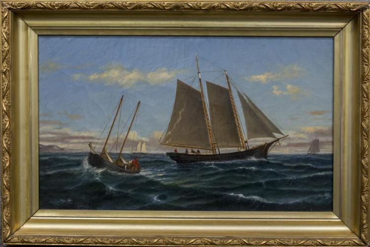 AMERICAN SCHOOL , (19th century), SHIPS AT SEA, oil on canvas, 12 x 20 in. (16 x 24 in.)