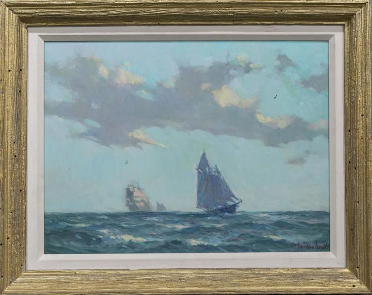 GORDON HOPE GRANT, (American, 1875-1962), THE PORT TACK, oil on canvasboard, 12 x 16 in. (15 1/2 x 19 1/2 in.)