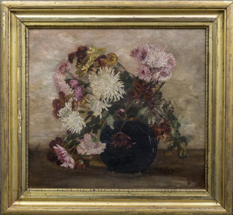 CHARLES ETHAN PORTER, (American, 1847-1923), STILL LIFE WITH FLOWERS, oil on canvas, 15 3/4 x 17 in. (19 3/4 x 21 in.)