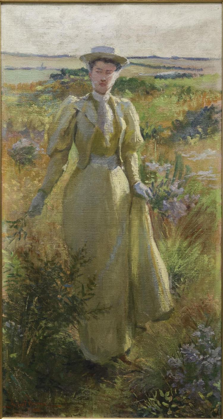 HERBERT F. DENMAN, (American, 1855-1903), GATHERING FLOWERS, oil on canvas, 30 x 16 in. (37 1/2 x 23 1/2 in.)
