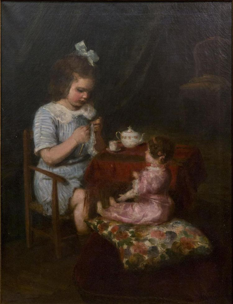 WILLIAM MCGREGOR PAXTON, (American, 1869-1941), TEATIME, oil on canvas, 37 1/2 x 29 in. (47 x 38 1/2 in.)