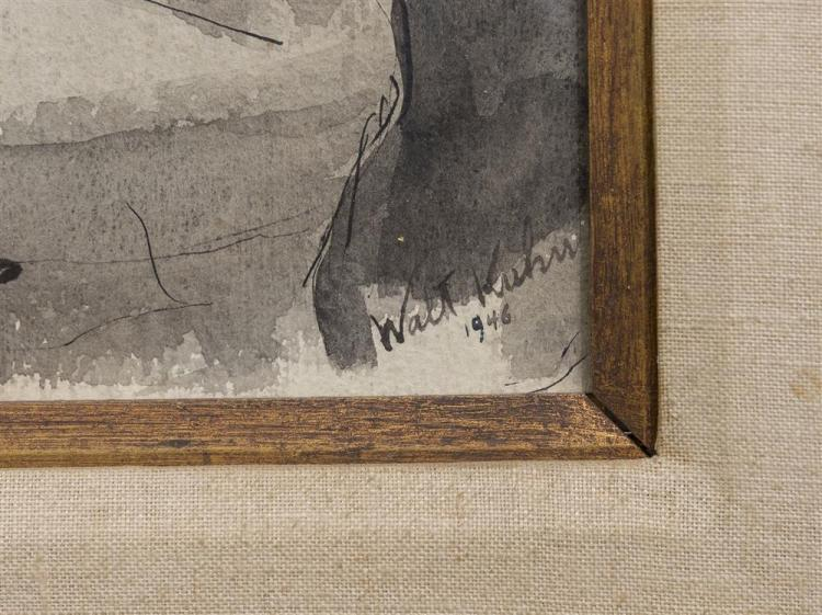 WALT KUHN, (American, 1877-1949), WOMAN RECLINING, 1946; ink and wash, sight: 11 3/4 x 23 3/4 in. (21 x 33 in.)