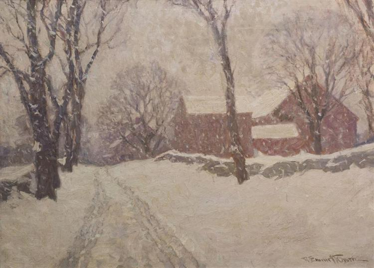 ROBERT EMMETT OWEN, (American, 1878-1957), SNOWY ROAD, oil on canvas, 25 x 34 1/4 in. (29 3/4 x 38 1/12 in.)