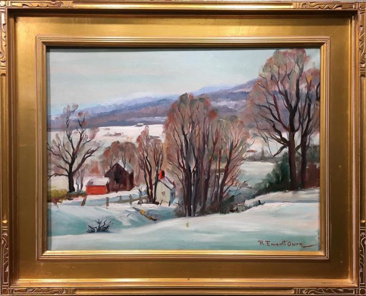 ROBERT EMMETT OWEN, (American, 1878-1957), WINTER VALLEY VIEW, oil on canvas, 18 x 24 1/4 in. (24 1/2 x 31 in.)