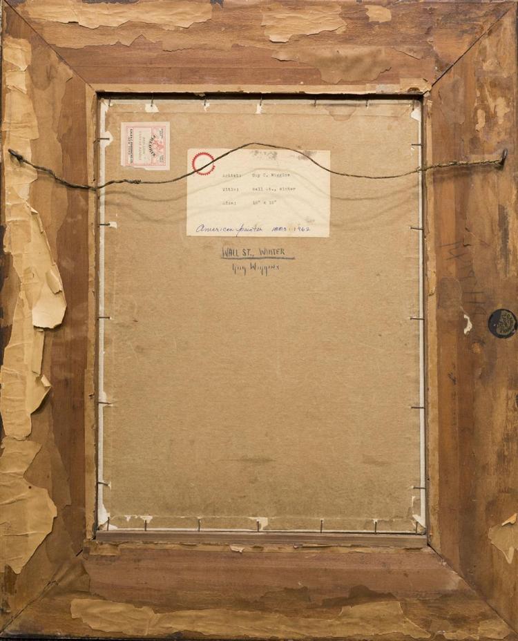 GUY CARLETON WIGGINS, (American, 1883-1962), WALL STREET, WINTER, oil on canvasboard, 15 3/4 x 12 in. (23 3/4 x 19 1/2 in.)