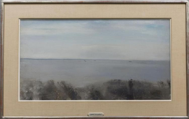 EDWIN WALTER DICKINSON, (American, 1891-1978), CAPE COD BAY - VIEW TOWARD DENNIS, 1940, oil on canvas, 13 1/4 x 24 in. (19 x 29 3/4 in.)