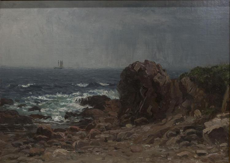JOHN JOSEPH ENNEKING, (American, 1841-1916), COASTAL SCENE, oil on canvas, 16 x 22 in. (17 1/2 x 23 1/2 in.)