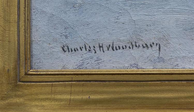 CHARLES HERBERT WOODBURY, (American, 1864-1940), COASTAL COTTAGE, oil on canvas, 17 1/4 x 21 1/4 in. (21 x 25 in.)