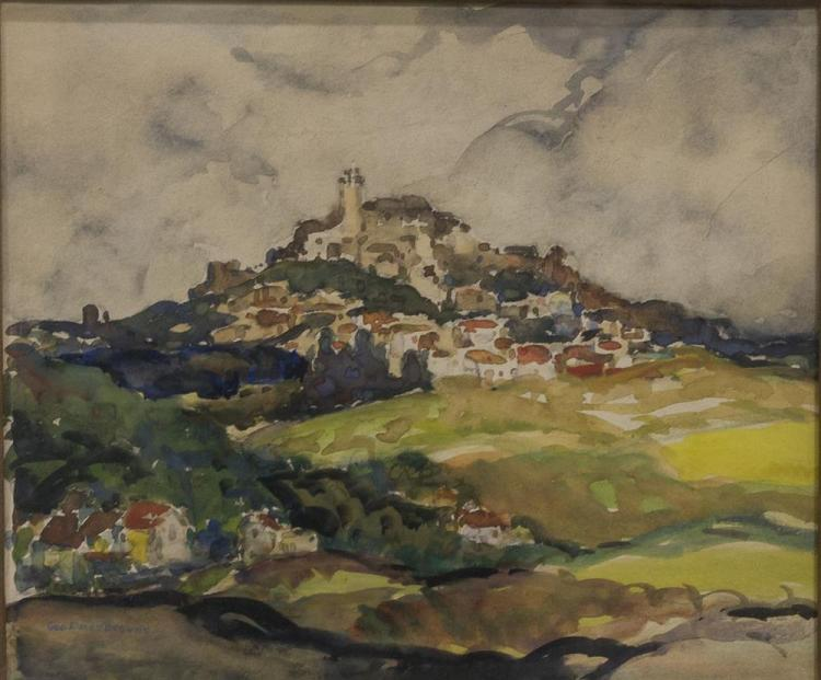 GEORGE ELMER BROWNE, (American, 1871-1946), CORDES - IN SOUTHERN FRANCE, watercolor, sight: 11 1/2 x 13 3/4 in. (20 1/2 x 22 1/2 in.)