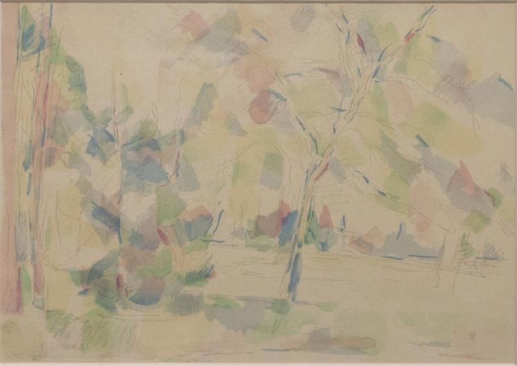 STANTON MACDONALD-WRIGHT, (American, 1890-1973), VIEW OF TREES, watercolor and pencil on paper, sight: 9 1/2 x 13 1/2 in. (15 3/4 x...
