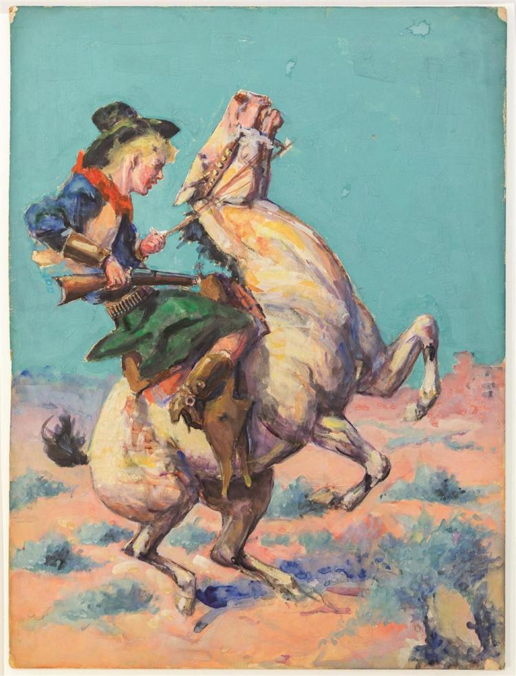 """HENRY """"HARRY"""" BROWN BAKER, (American, 1868-1941), COWGIRL ON A BRONCO, gouache on illustration board, 20 x 15 in."""