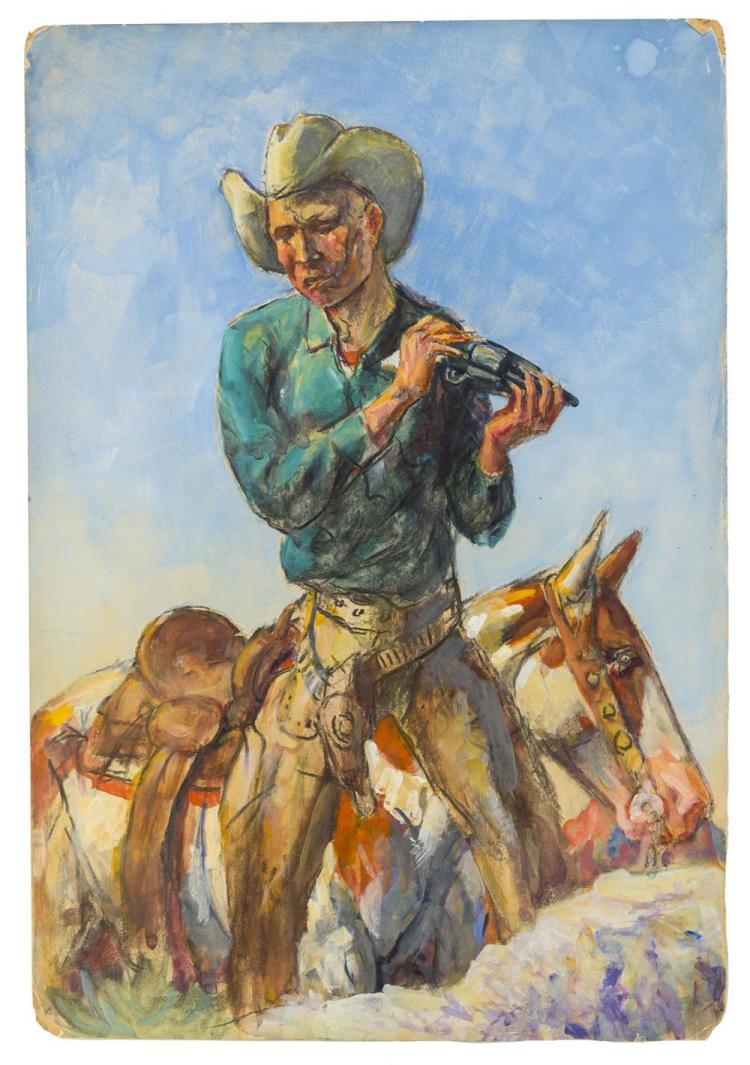 """HENRY """"HARRY"""" BROWN BAKER, (American, 1868-1941), COWBOY ON A BRONCO, gouache on illustration board, 22 x 15 in."""