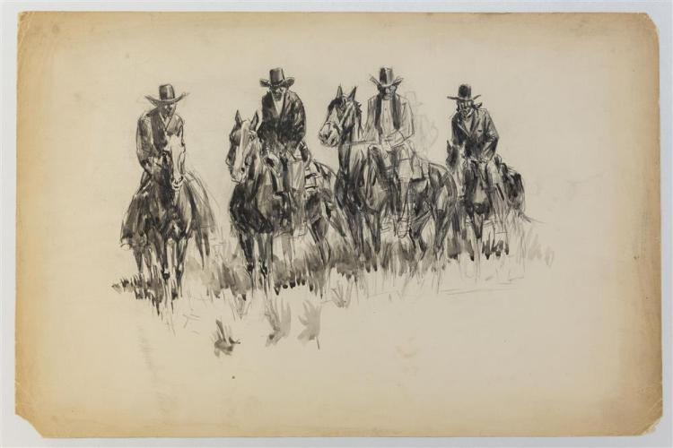 "HENRY ""HARRY"" BROWN BAKER, (American, 1868-1941), FOUR MEN ON HORSEBACK, ink wash on paper, 12 1/2 x 19 in."